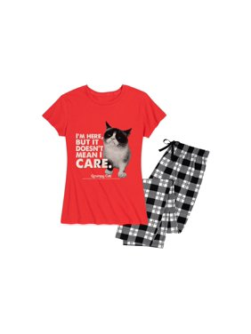 Grumpy Cat I'm Here But it Doesn't Mean I Care - Women's Pajama Set