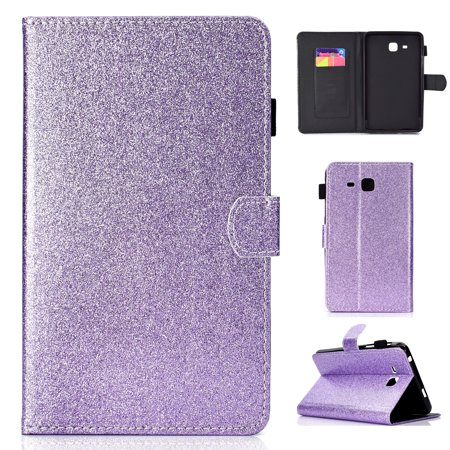 Galaxy Tab A 7.0 Inch Case, T280 T285 Case, Allytech Synthetic Glitter Leather Bling Design Kickstand Magnetic Clasp Pencil Holder Cards Slots Wallet Case Cover for Samsung Galaxy Tab A (Synthetic Clasps)