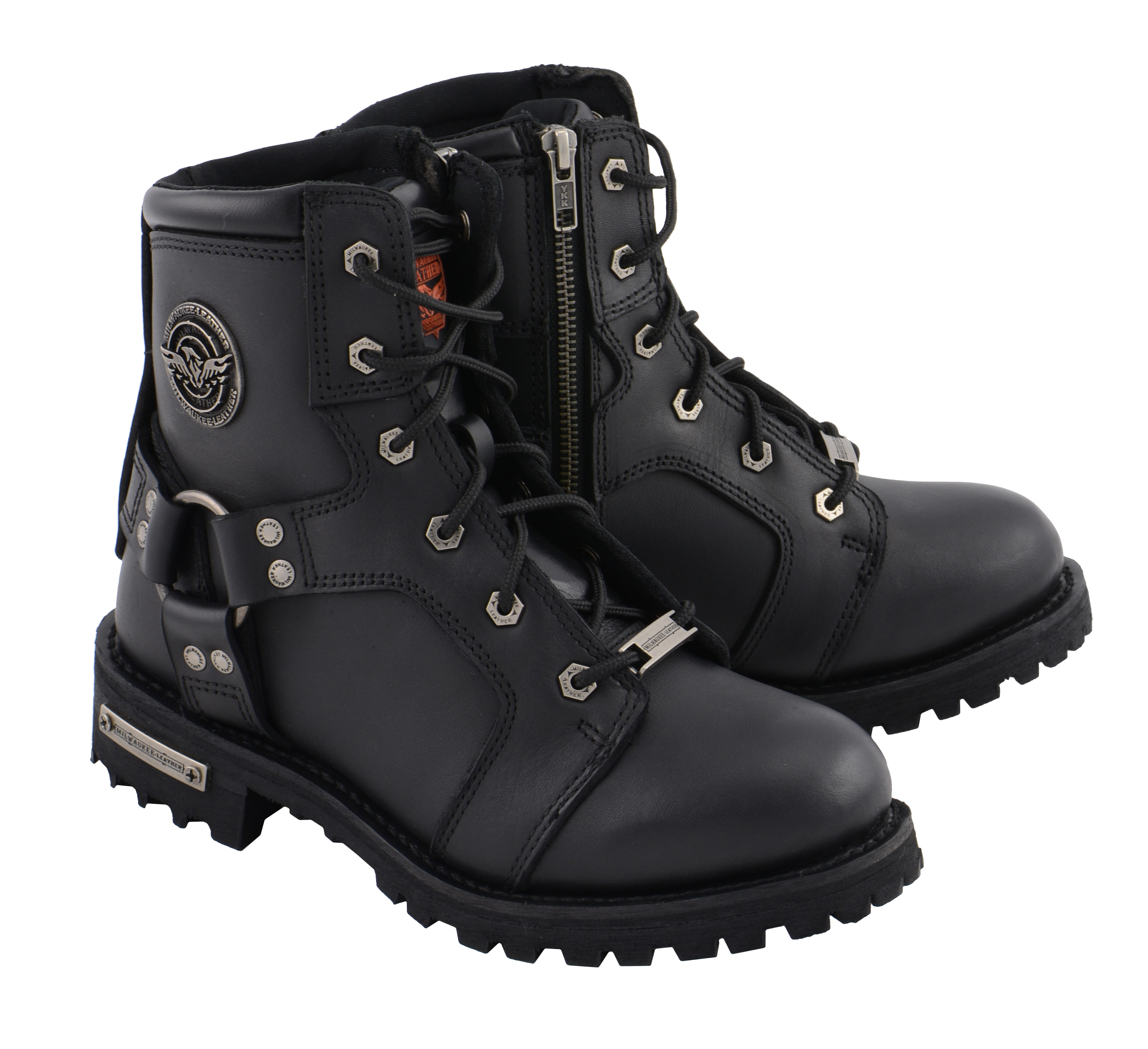 6 Milwaukee Leather MBL9302 Womens Black 8-Inch Lace-Up Harness Boots with Side Zipper Entry