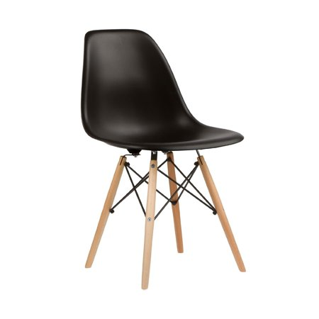 Nicer Furniture Set of 4 Black Eames Style Side Chair with Natural Wood Legs Eiffel Dining Room Chair - Dowel Leg - Eiffel Legged Base Molded Plastic Seat Shell Top - Paris Tower Side Dining