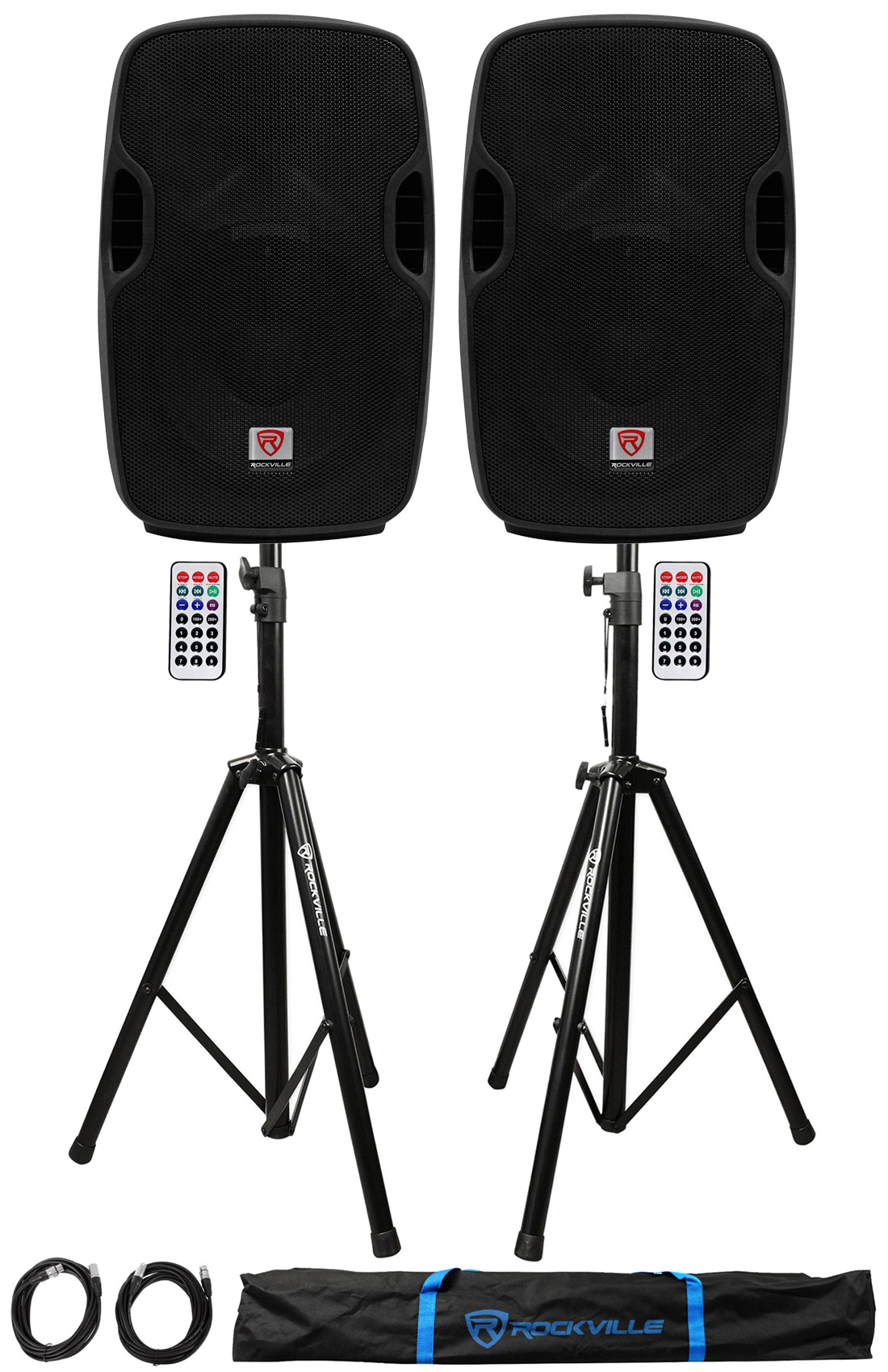 "2) Rockville BPA10 10"" Powered 400W DJ PA Speakers w Bluetooth+Stands+Cables+Bag by ROCKVILLE"