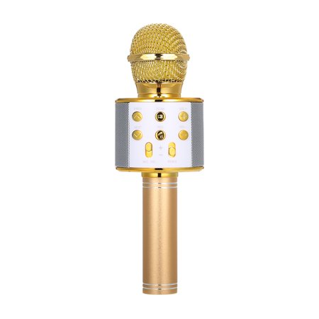 BT Wireless Microphone Speaker Handheld Karaoke Mic Portable Music Player Singing Recorder KTV Microphones (Gold)