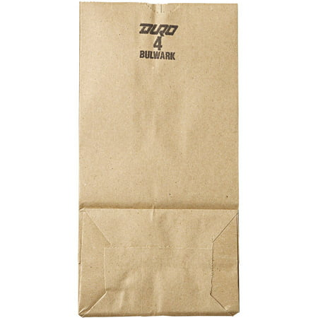 Duro Gusset Fold Top Paper Bags, Brown, 500 Ct