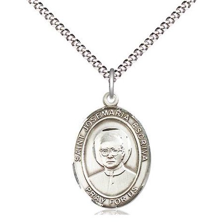 St. Josemaria Escriva Patron Saint Medal Pendant in Sterling Silver with 18