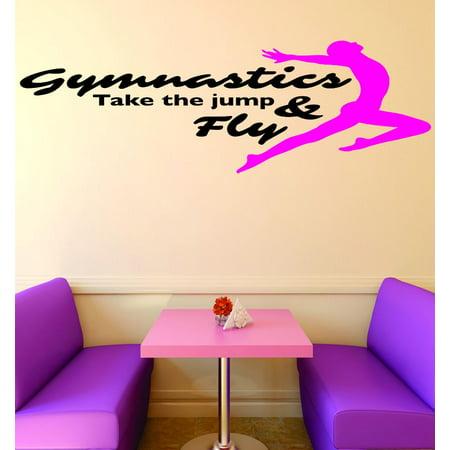 Jumping Vinyl Decal Sticker (Custom Wall Decal Vinyl Sticker : Gymnastics Take The Jump & Fly Sign Teen Girl Bedroom Decoration Home Decor)