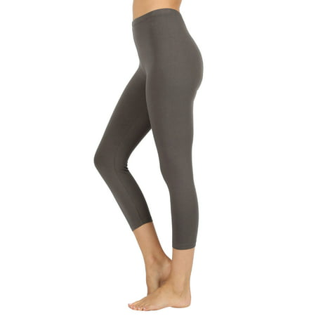 616667c0a4ba4b TheLovely - Women Premium Cotton High Waist Capri Length Leggings - Walmart .com