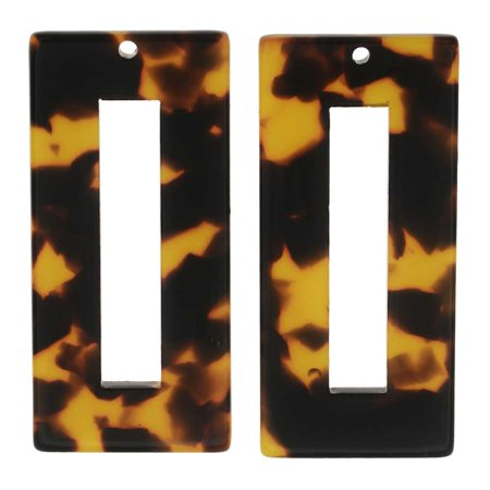 (Zola Elements Resin Pendant, Rectangle Frame 22x49mm, 2 Pieces, Brown Tortoise Shell)