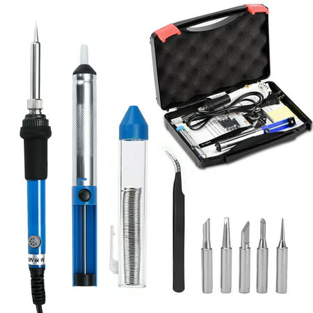60W 110V Electric Rework Soldering Iron Kit Adjustable Temperature Welding Starter Tool with 5 Different Tips ,Desoldering Pump, Tweezers, Solder Wire +Carry Case