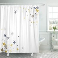 PKNMT Gold and Silver Flying Stars Confetti Magic Christmas Premium Sparkles Bathroom Shower Curtains 60x72 inch