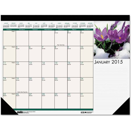 House Of Doolittle 159 Floral Photographic Monthly Desk Pad Calendar  22 X 17  2015