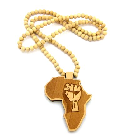 Natural Sponge Coral Necklace - Power Fist Engraved Wood Africa Continent Pendant w/ 8mm 36