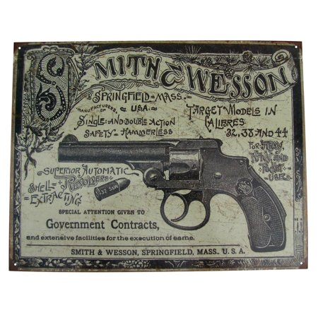 Vintage Smith&Wesson Revolver Gun Ad Tin Sign US Made Garage Bar Pub Wall (Personalized Garage Pub Sign)