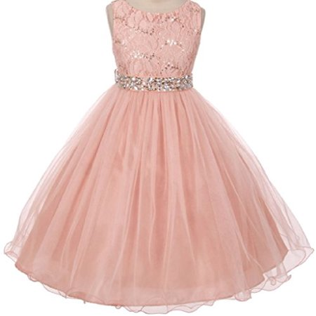 Big Girls Gorgeous Shiny Tulle Beaded Sequin Rhinestone Belt Flower Girl Dress Blush 10 (M3B4K0)