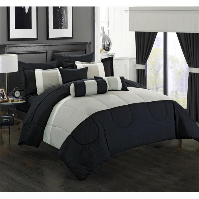 Chic Home CS1878-US 20 Piece Standon Complete Pieced Color Block Bedding, Sheets, Window Panel Collection King Bed in a Bag Comforter Set, Black Sheets