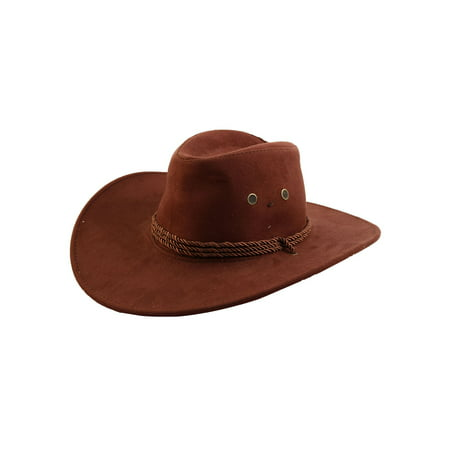 Men Faux Suede Adjtable Neck Strap Western Style Sunhat Cowboy Hat Cap - Inflatable Cowboy Hat