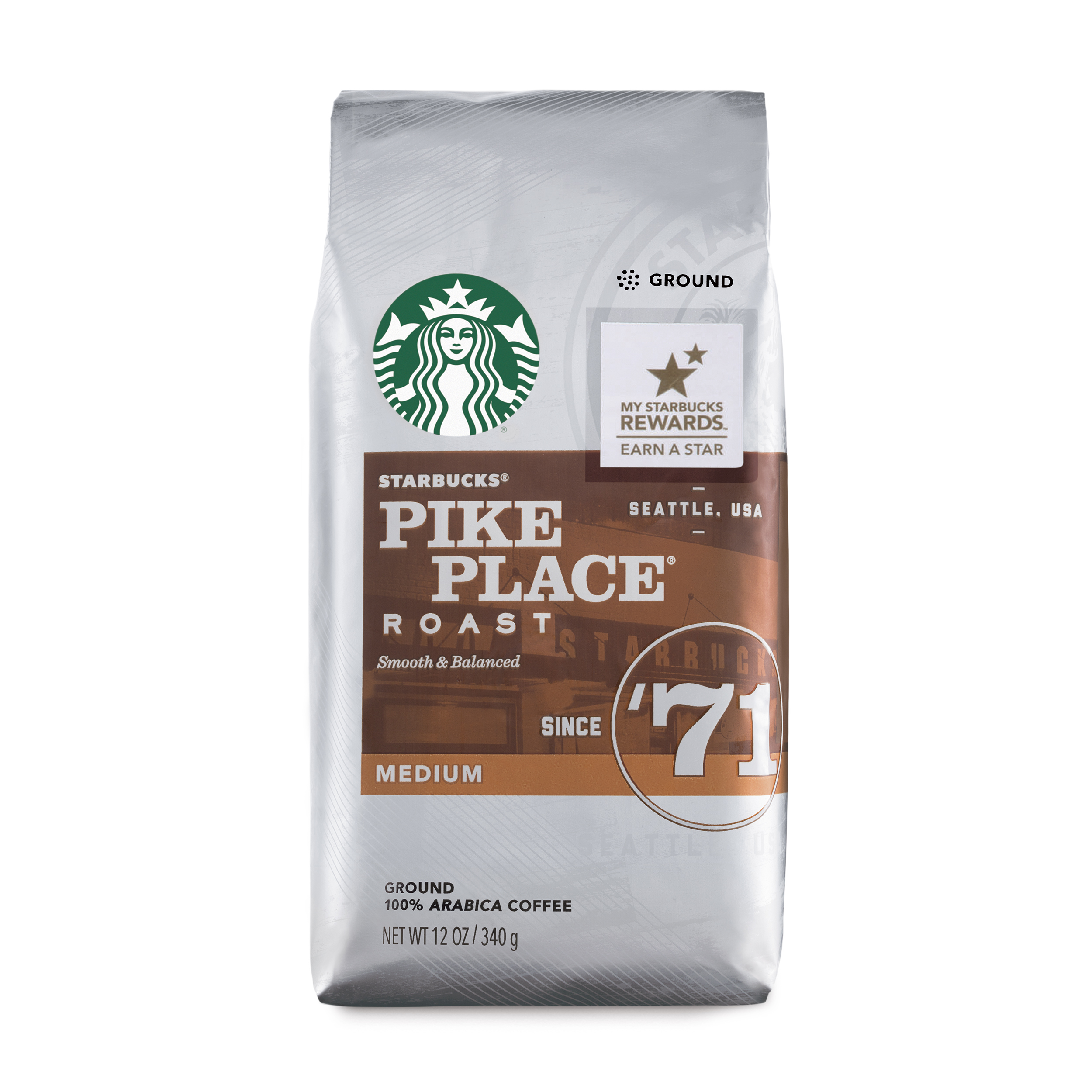Starbucks Pike Place Roast Medium Roast Ground Coffee, 12-Ounce Bag
