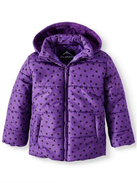 888633d991b3 Product Image Climate Concepts Foil Heart Print Puffer Jacket with Hood (Little  Girls & Big Girls). Product Variants Selector. Purple