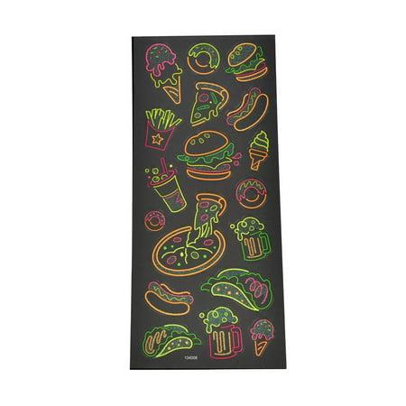 Fast Food Clear Glitter Neon Stickers, 18-Piece Clear Glitter Stickers