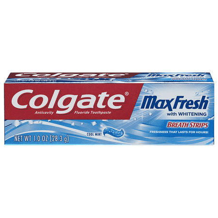 Colgate Max Fresh Travel Size Toothpaste with Mini Breath Strips, Cool Mint - 1.0 oz