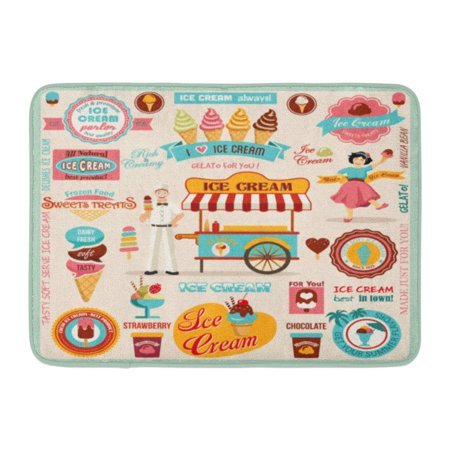 Slip Ice Treads - LADDKE Brown Cone Collection of Ice Cream Retro Sundae Parlor Dessert Sweet Doormat Floor Rug Bath Mat 23.6x15.7 inch