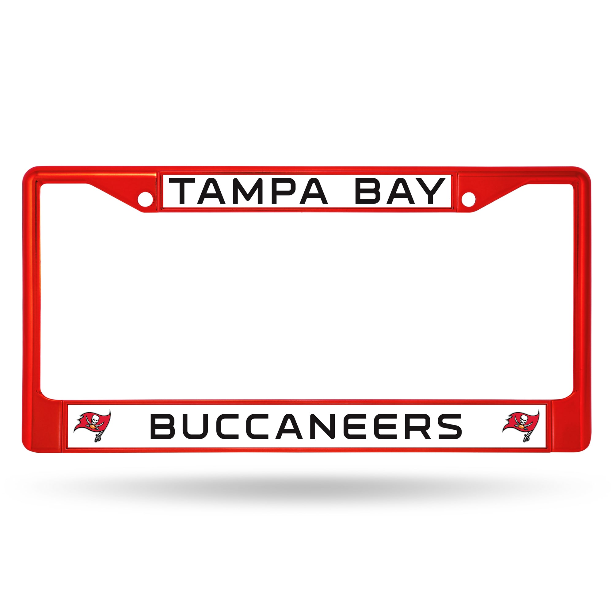 Tampa Bay Buccaneers NFL Licensed Red Painted Chrome Metal License Plate Frame