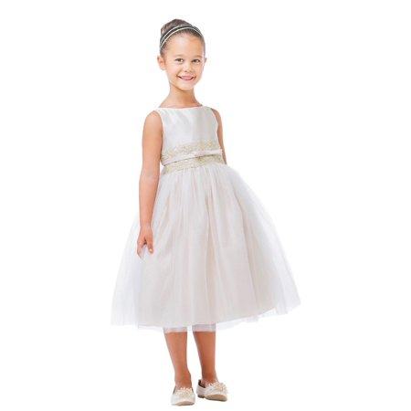 3f01e2b2e Sweet Kids - Sweet Kids Little Girls Champagne Satin Lace Bow Tulle Flower  Girl Dress 2-6 - Walmart.com