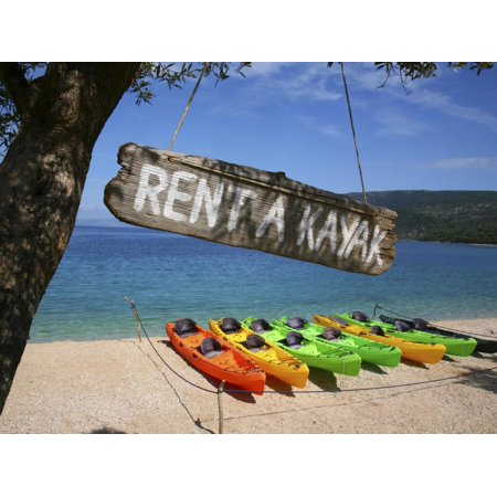 Kayaks for Rent on Beach at Point Kovacine West of Cres Town Print Wall Art By Ruth Eastham & Max