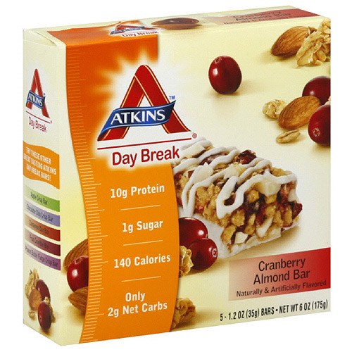 Atkins Day Break Cranberry Almond Bars, 1.2 oz, 5ct (Pack of 6)