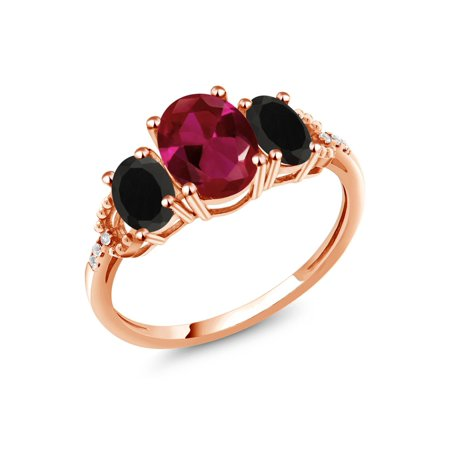 1.97 Ct Oval Red Created Ruby Black Onyx 10K Rose Gold Diamond Accent - Milliken Ruby Onyx