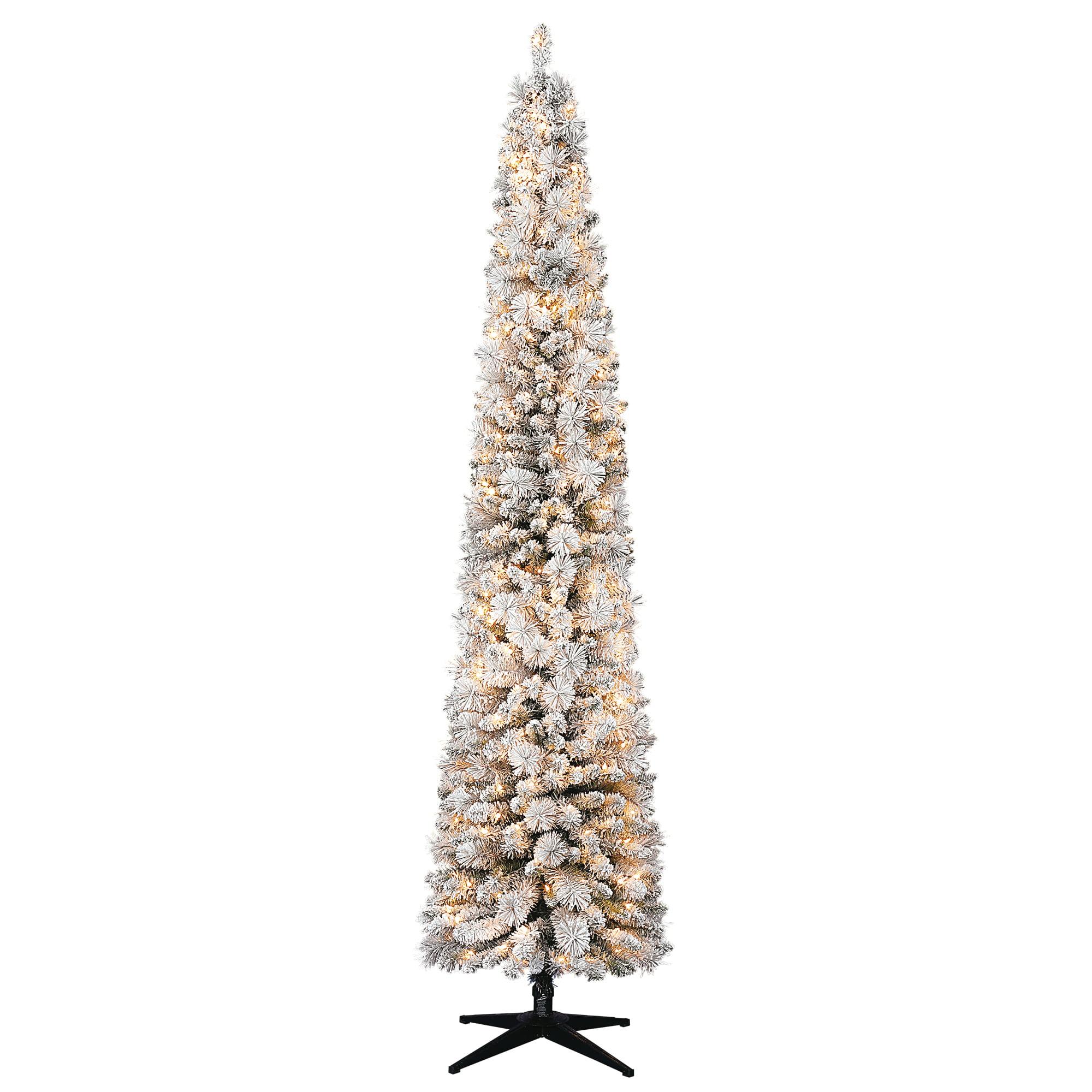 Holiday Time Pre Lit 9 Hudson Flocked Pencil Pine Artificial Christmas Tree Clear Lights Walmart Com Walmart Com