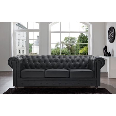 classic scroll arm tufted bonded leather chesterfield large sofa. Black Bedroom Furniture Sets. Home Design Ideas