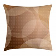 Tan Throw Pillow Cushion Cover, Overlapping Circles with Big and Small Polka Dots Pattern Gradient Modern Display, Decorative Square Accent Pillow Case, 20 X 20 Inches, Tan Brown White, by Ambesonne
