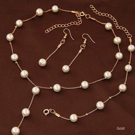 Fancyleo Faux Pearl Necklace Earring Bracelet Jewelry Set Delicate Classy Costume Jewelry Favor Best