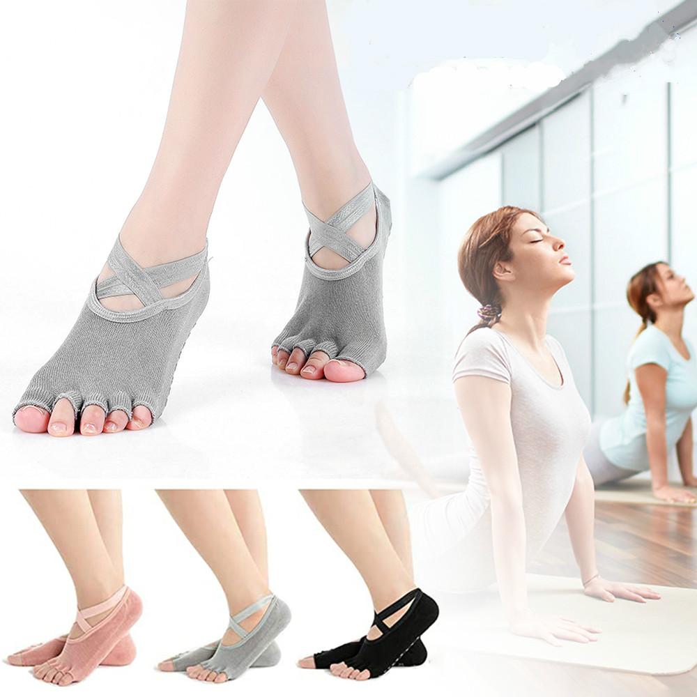 2 Pair Women/'s Yoga Socks Toeless Black  No Slip Design  Skid With Grips
