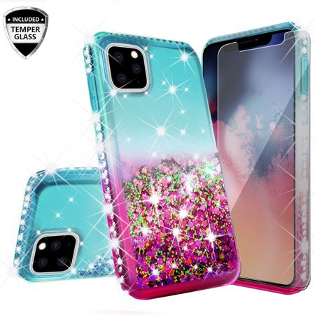 iPhone 11 Pro (2019) Case, Glitter Liquid Floating Bling Sparkle Moving Quicksand Waterfall Girls Women Cute Protective Phone Case with Tempered Glass Screen Protector - Teal/Pink (Moving Iphone 4 Case)