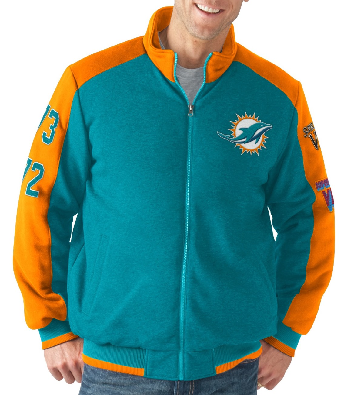 """Miami Dolphins NFL """"Classic"""" Men's Super Bowl Commemorative Varsity Jacket by G-III Sports"""