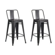AC Pacific Distressed Metal Bar Stool with Back, Black, 24 -inch, Set of 2 by AC Pacific