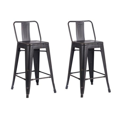 Ac Pacific Distressed Metal Barstool With Back Black 24 Inch Set