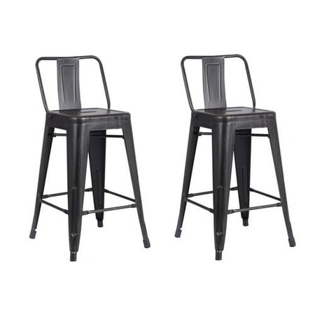 - AC Pacific Distressed Metal Barstool with Back, Black, 24 -inch, Set of 2