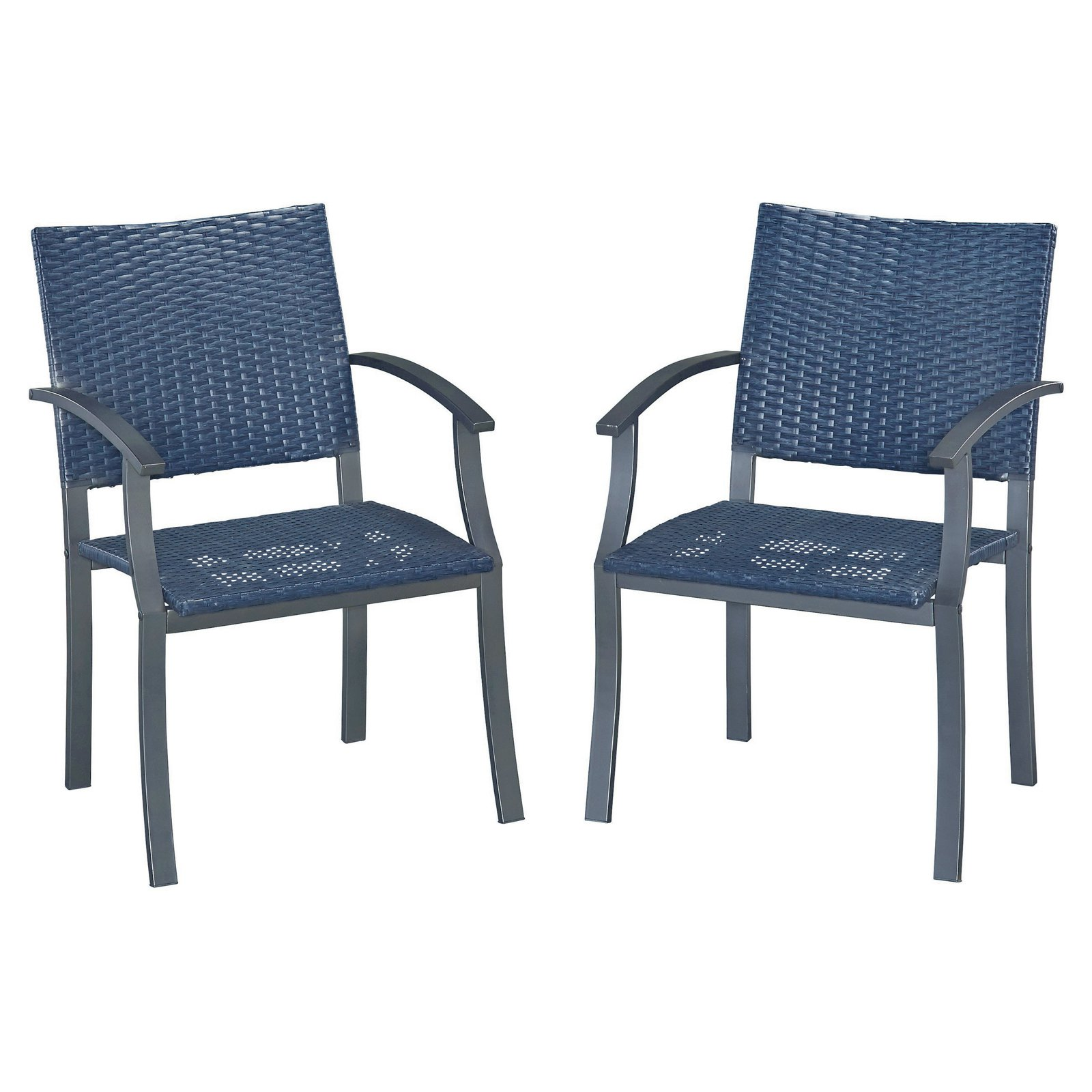 Stone Veneer synthetic-weave Arm Chairs Pair