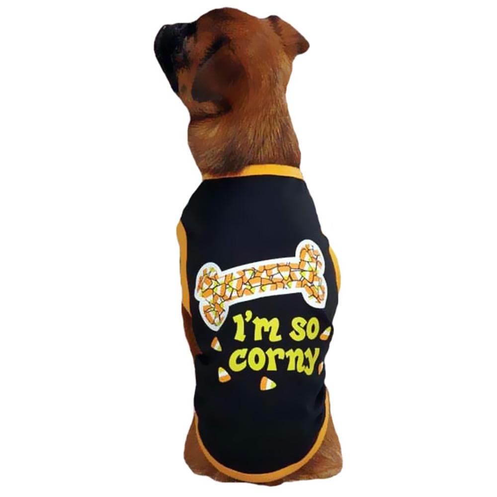 Casual Canine I'm So Corny Tee Black  SMALL