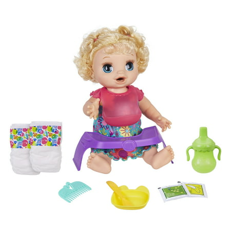 Baby Alive Happy Hungry Baby Blonde Curly Hair, 50+ Sounds, Eats, Drinks