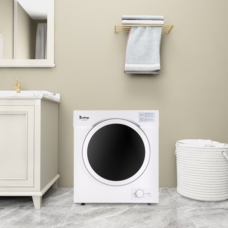 YOFE Portable Compact Laundry Dryer, Stainless Steel Household Drum Clothes Dryer, Front Load Electric Portable Clothes Dryer, Compact Laundry Clothes Dryer for Apartment Dormitories Home, White, R1718