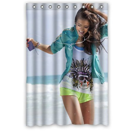 Deyou Sexy Actress Nina Dobrev Hot Woman Shower Curtain Polyester Fabric Bathroom Shower Curtain Size 48X72 Inches