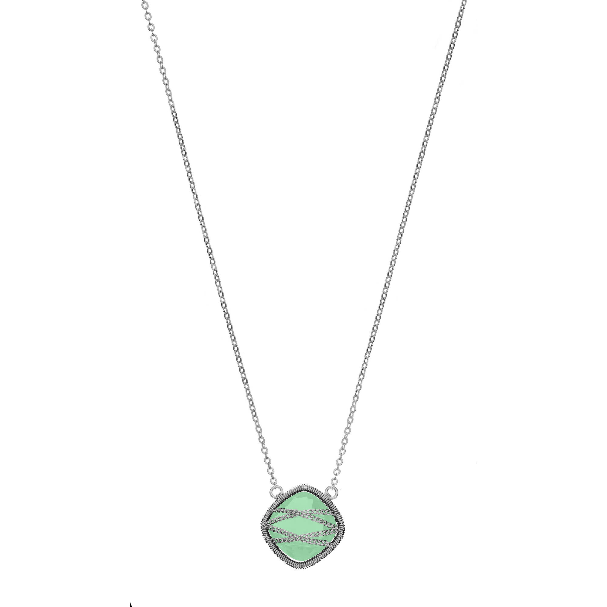5th & Main Sterling Silver Hand-Wrapped Squared Chalcedony Stone Necklace by Generic