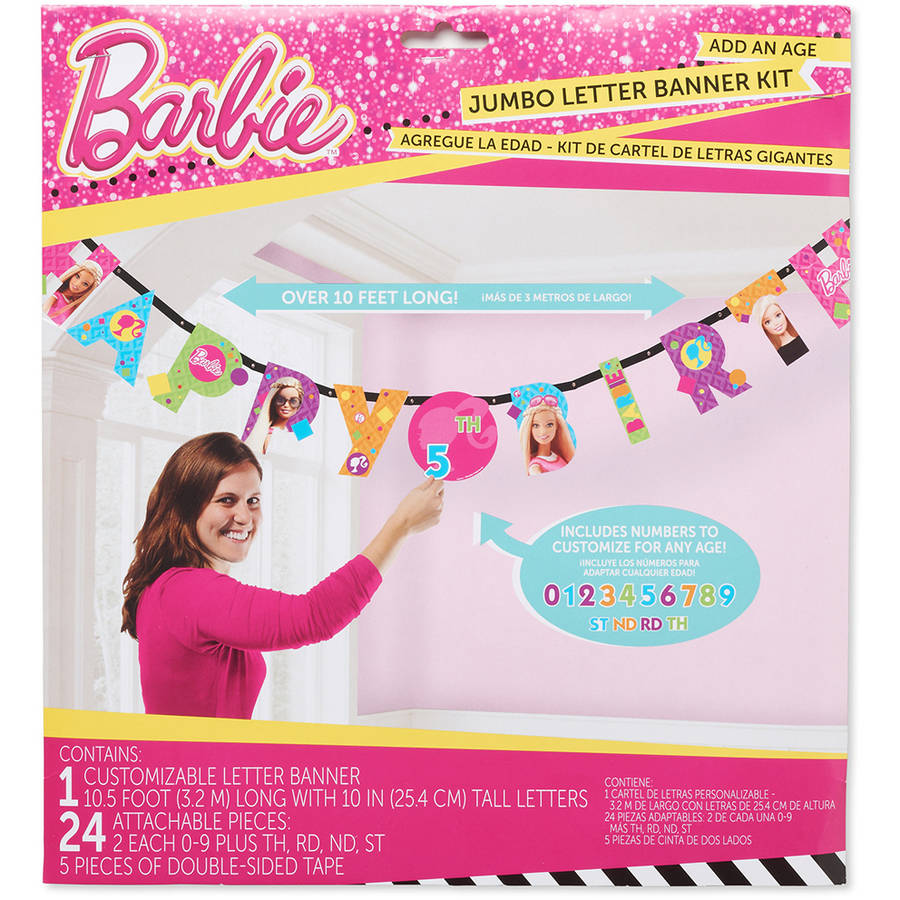 Barbie Add-an-Age Birthday Party Banner, Party Supplies
