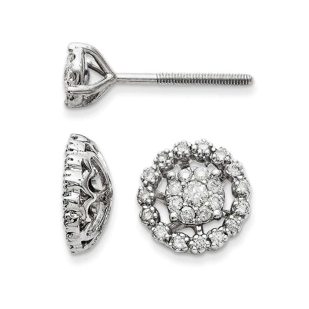 14K White Gold 0.39ct Jacket Diamond Post Earring (6.50mm Opening for 1ct Stone) (10MM)