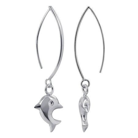Gem Avenue 925 Sterling Silver Dangling Dolphin Dangle (Sterling Silver Dangling Dolphin)