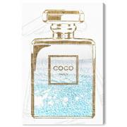 "Wynwood Studio 'Perfume Water Love Light' Fashion and Glam Wall Art Canvas Print - Gold, Blue, 20"" x 30"""