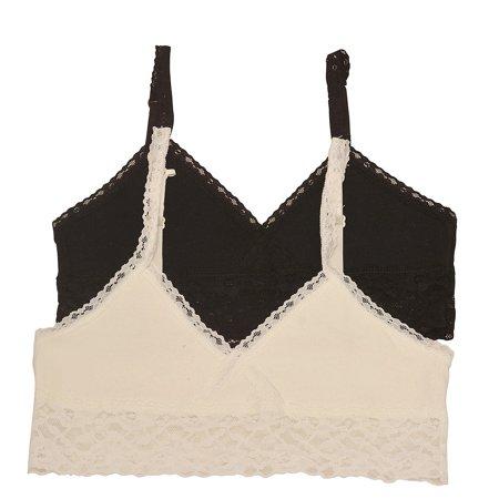 Sophia Cami - Girls Ivory Black Lace Trim Adjustable Strap 2 Pc Cami Bralette Set